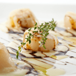 Sea scallops in a lemon cream sauce and balsamic vinegar drizzle with a sprig of fresh thyme