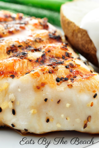 Closeup of perfectly moist boneless, skinless chicken breasts with a light spice coating