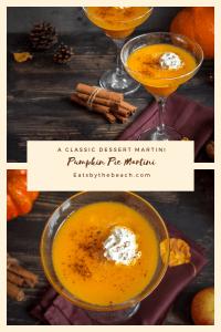 A dark board serving pumpkin pie martinis - classic dessert martinis that taste just like your favorite pie