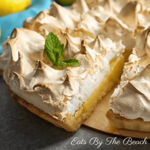 A French lemon meringue pie - tart and sweet lemon filling with clouds of toasted, fluffy meringue.