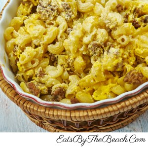 The Ultimate Comfort Food, cheesy mac and cheese combined with a savory, spicy beef taco meat. Made by EatsByTheBeach.Com