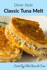 A classic tuna melt sandwich with cheese on buttery sourdough bread. A diner style sandwich that is the perfect comfort food.