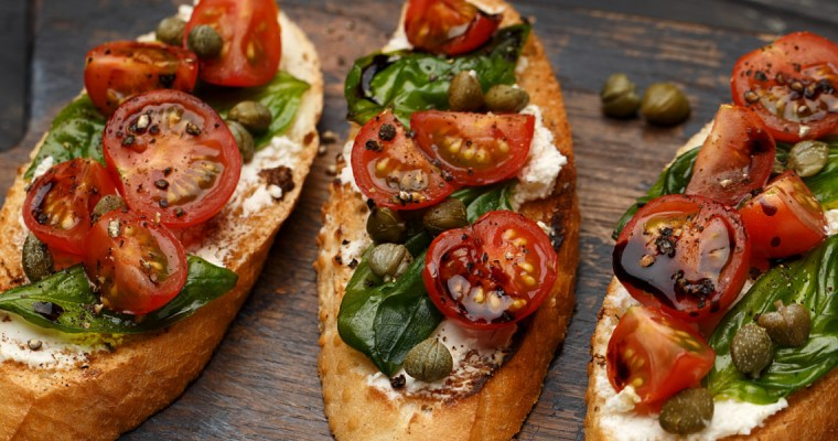 GOAT CHEESE CAPRESE BRUSCHETTA