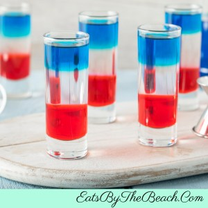 Election Day Shooters - layered grenadine, peach schnapps, and blue curacao.  Its one way to get through election night.