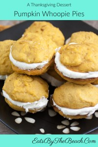 Pumpkin Whoopie Pies - 2 bites sized pumpkin spiced cakes sandwiched with a fluffy cream cheese filling.