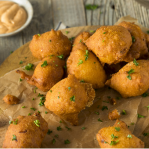 Golden, perfectly fried, Southern Hush Puppies.