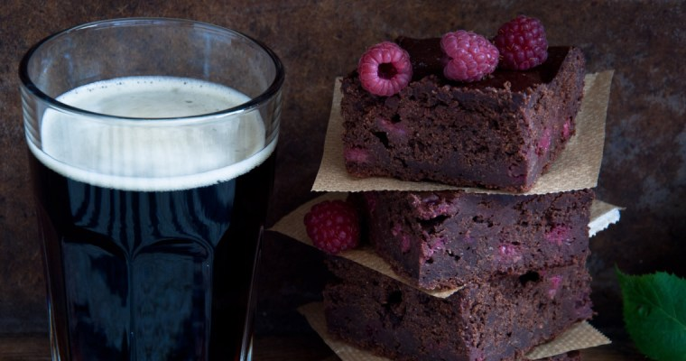 RASPBERRY IRISH STOUT BROWNIES