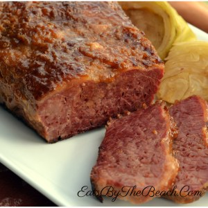 Platter of oven baked corned beef and cabbage
