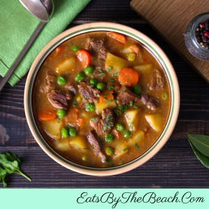 Bowl of Savory Irish Beef Stew - tender beef, potatoes, and vegetables in a Guinness and red wine gravy