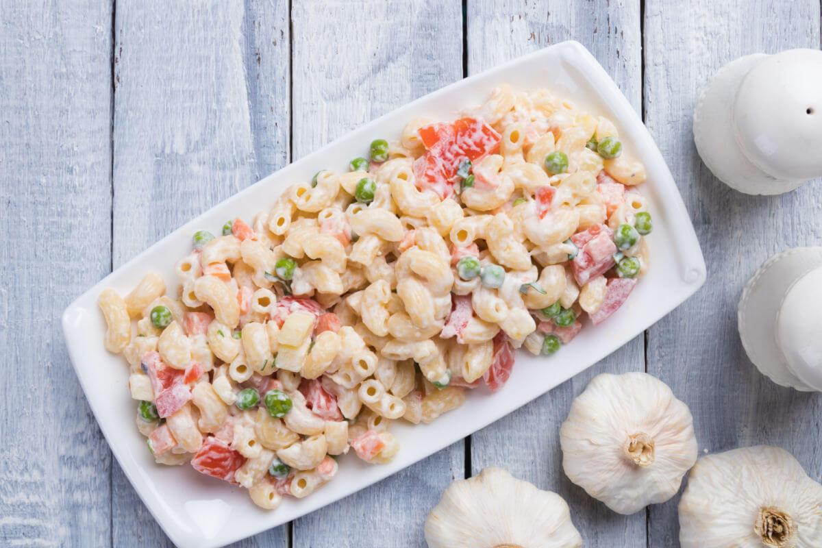 White platter of Old Fashioned Macaroni Salad