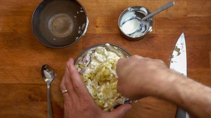 Mixing Garlic Onion Mashed Potatoes