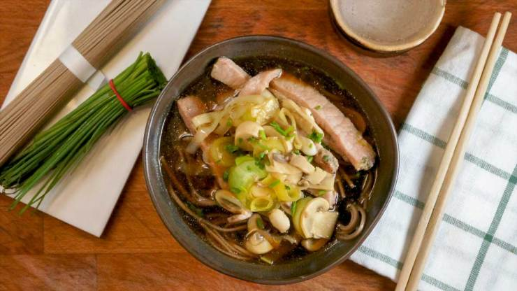 Japanese Pork Soba Noodle Soup Plated