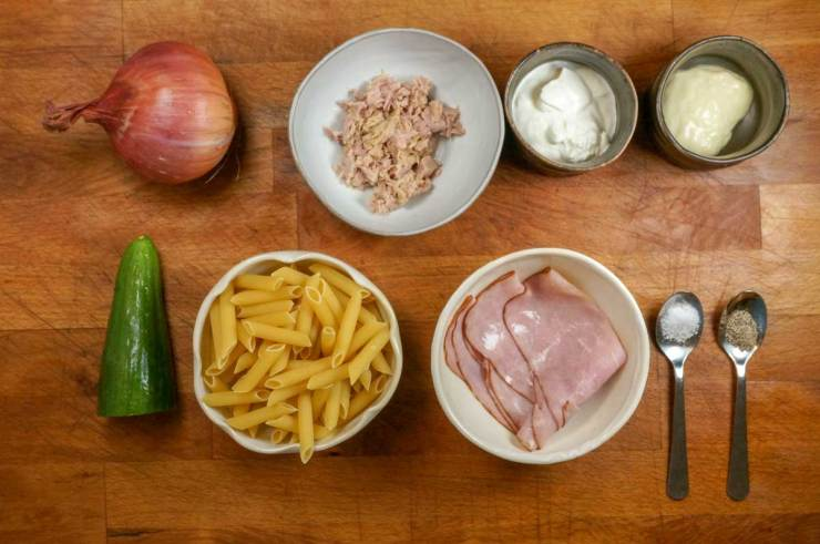 Japanese Tuna and Ham Pasta Salad Recipe Ingredients