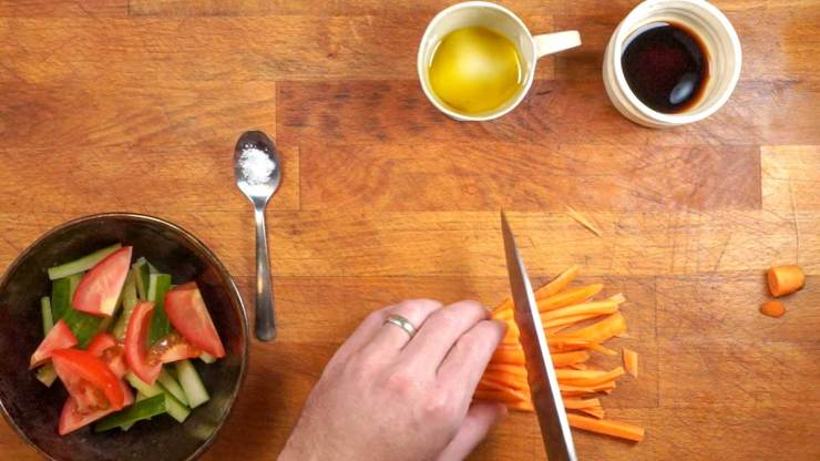 Slicing carrots for Simple and Quick Vegetable Vinaigrette