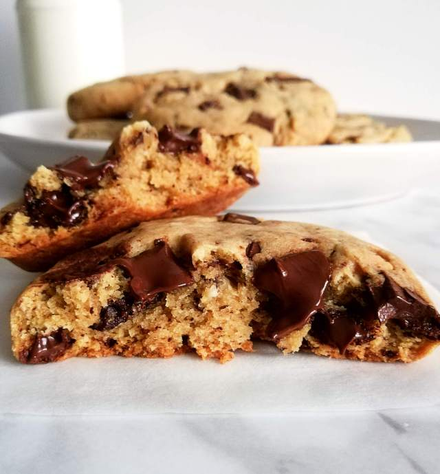 chocolate chip cookies inside view close up