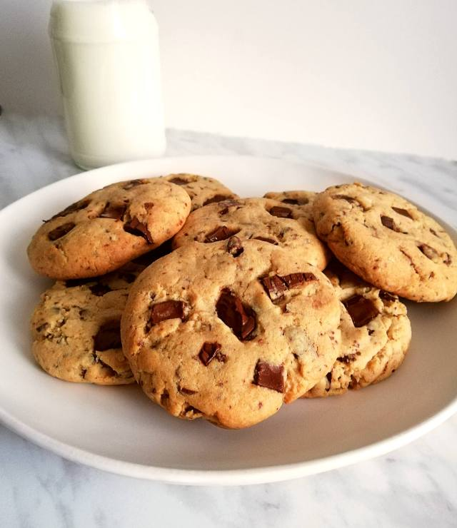 chocolate chip cookies on plate with milk