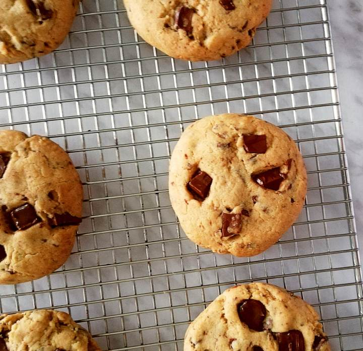 chocolate chip cookies on wire rack rotate