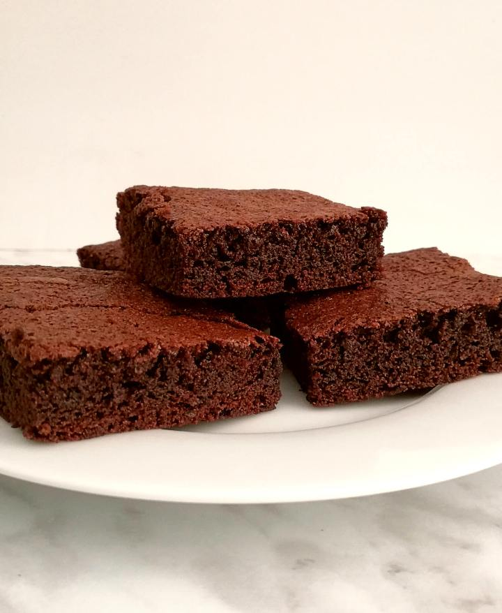 brownies stacked in plate