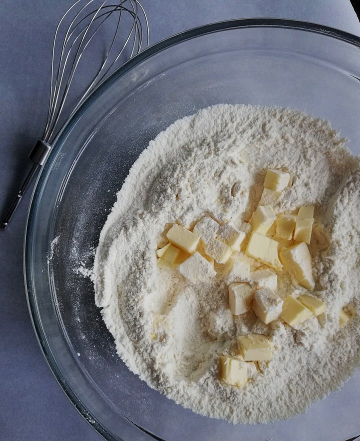 Dry ingredients with butter