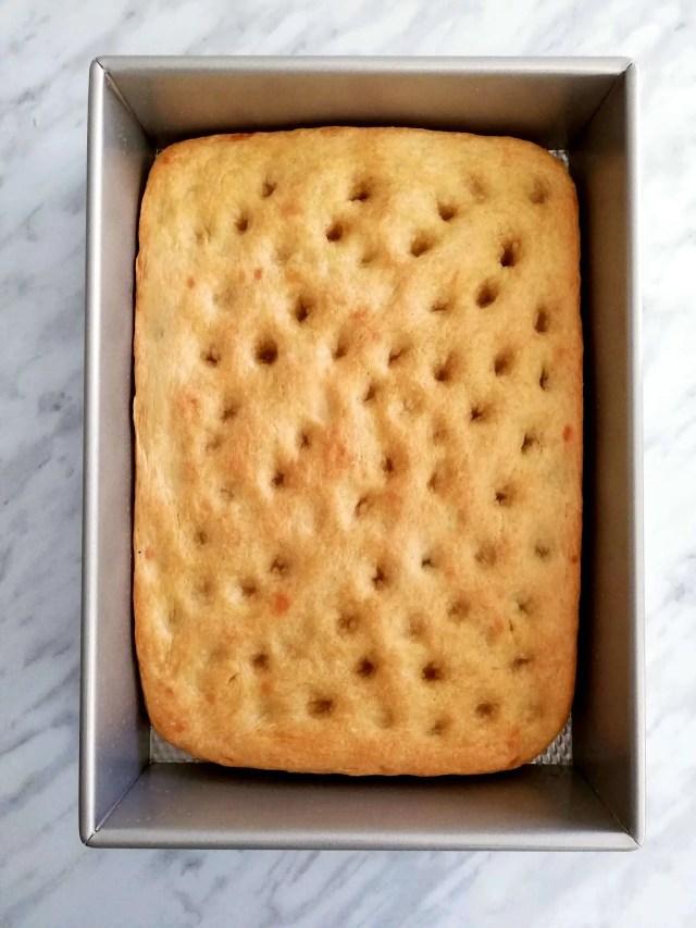focaccia bread baked overhead