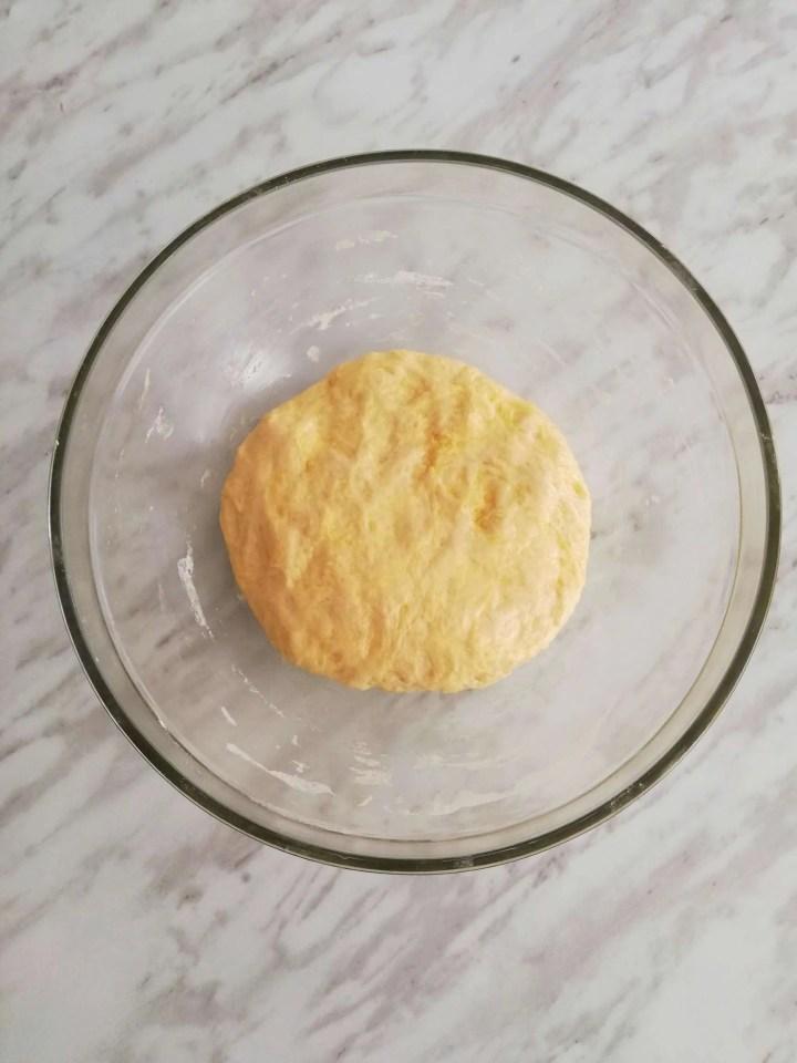 focaccia bread dough kneaded