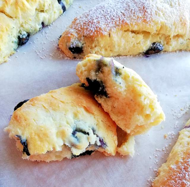 blueberry scones inside view