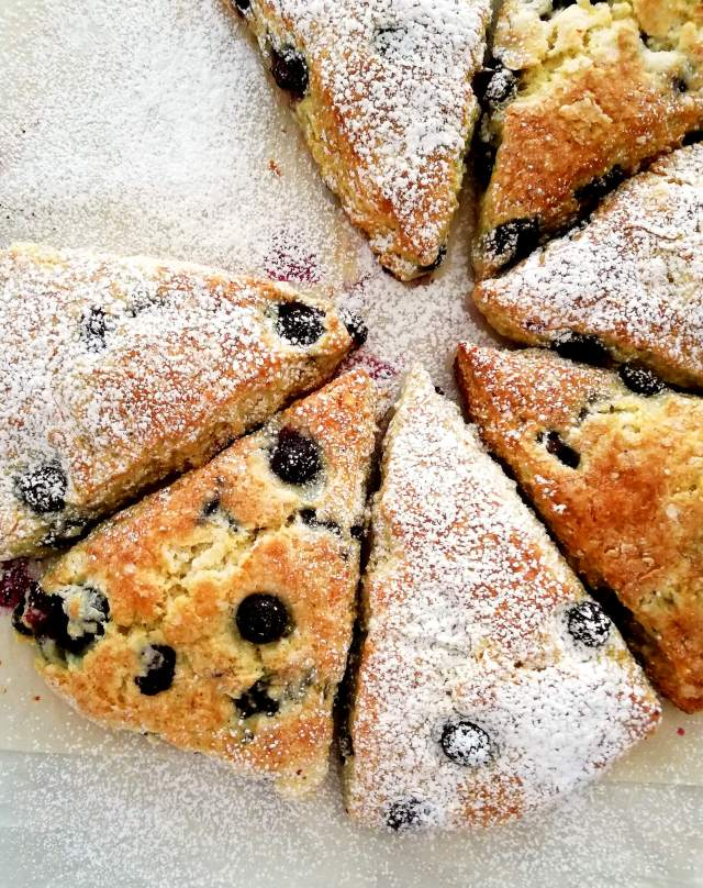 blueberry scones partially dusted with powdered sugar close up overhead