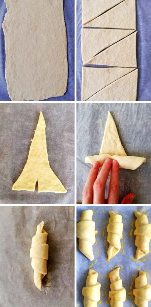 croissants shaping steps