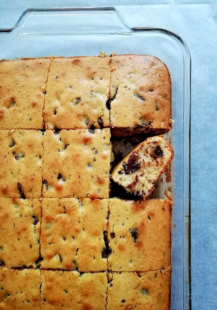 chocolate chip cookie cake overhead