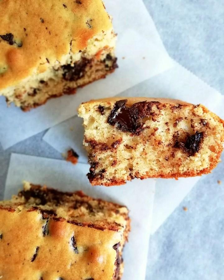 chocolate chip cookie cake slice