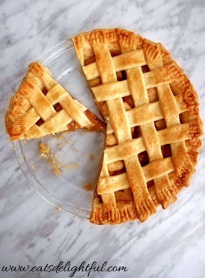 apple pie baked and sliced overhead