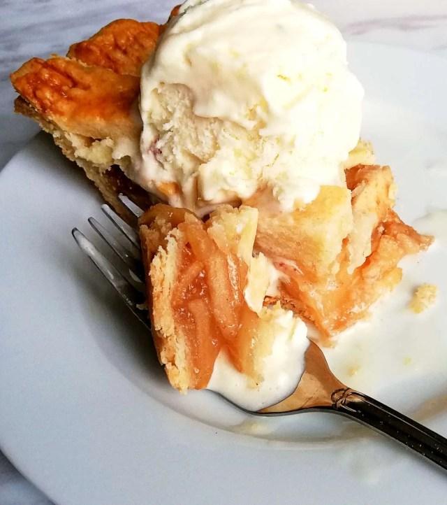 apple pie bite on fork