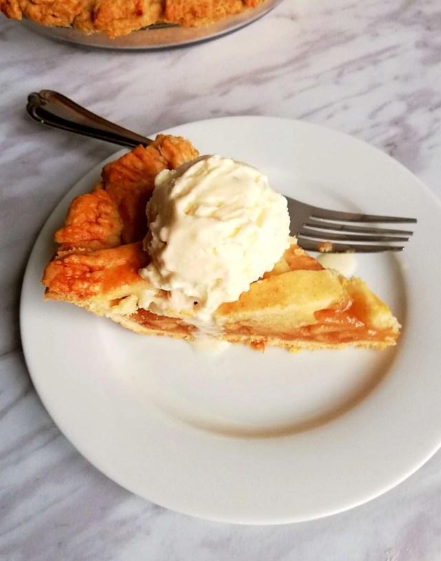 apple pie with ice cream overhead
