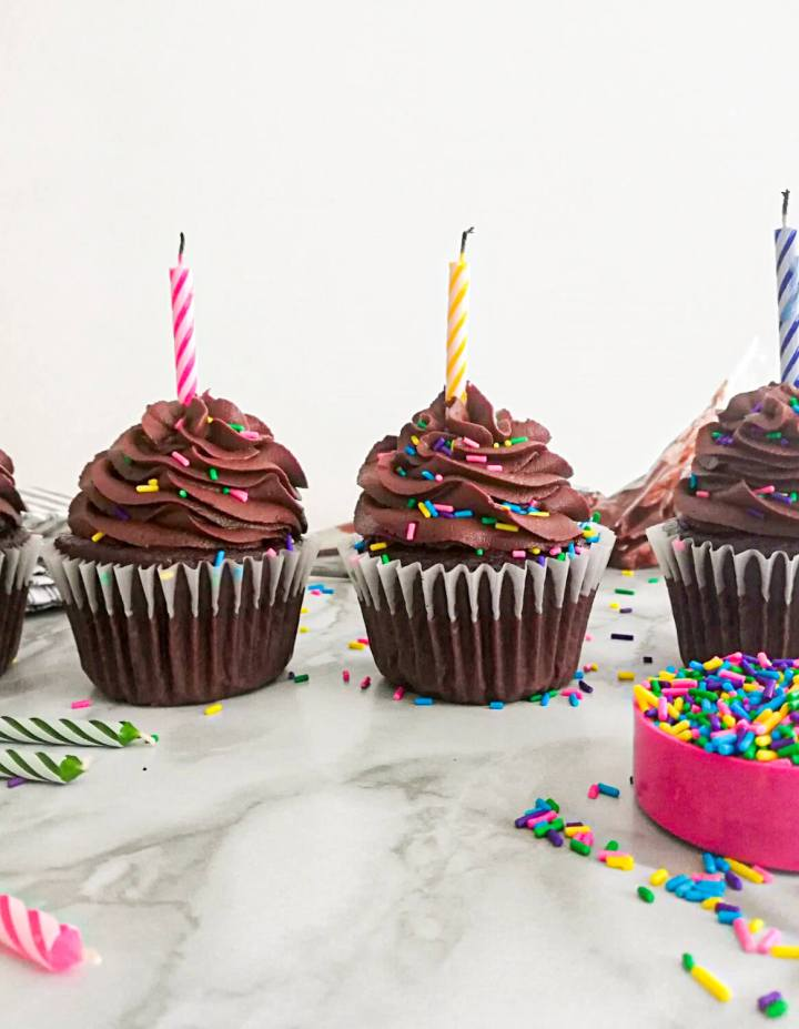 chocolate cupcakes frosted and topped with sprinkles with candles blown out