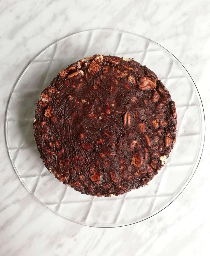 chocolate lazy cake overhead without ganache