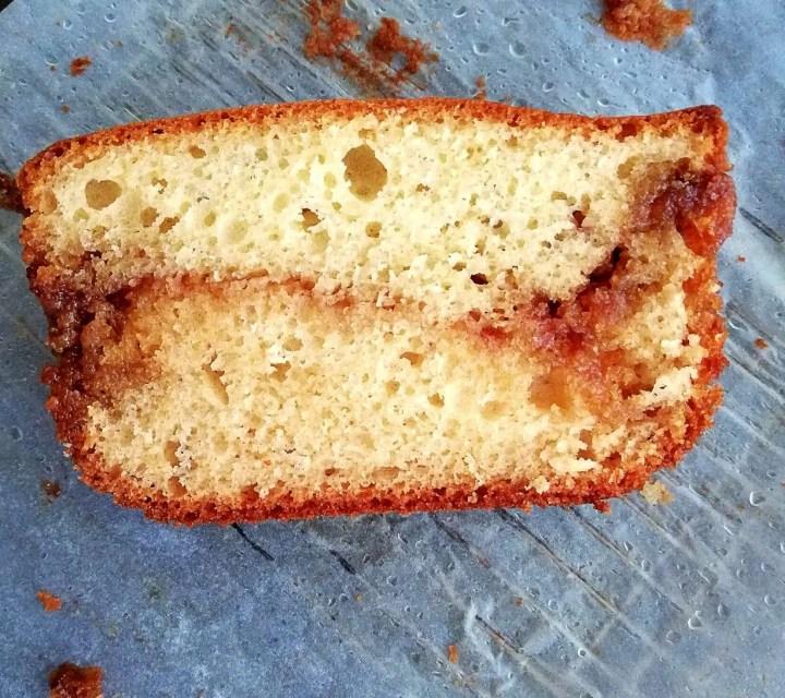 cinnamon swirl quick bread inside view