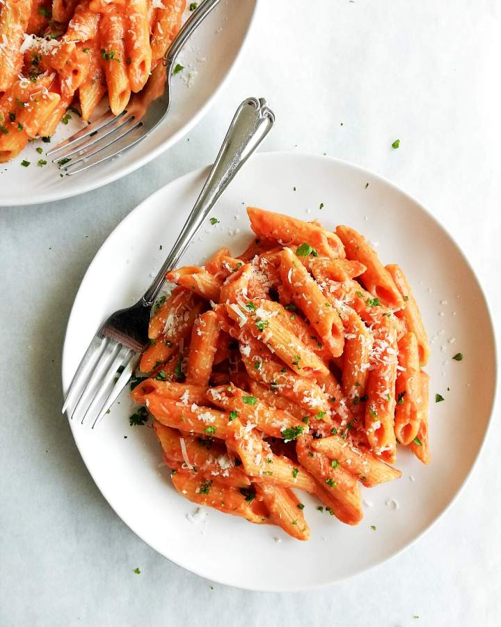 penne alla vodka plated