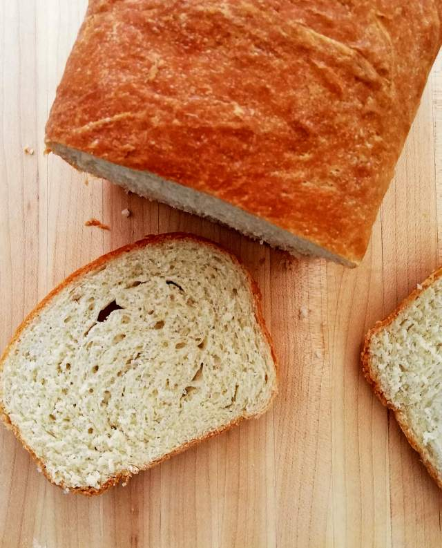 sandwich bread slice on cutting board
