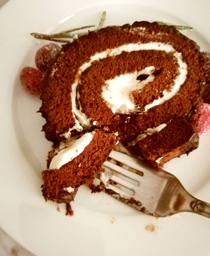 chocolate buche de noel slice on fork