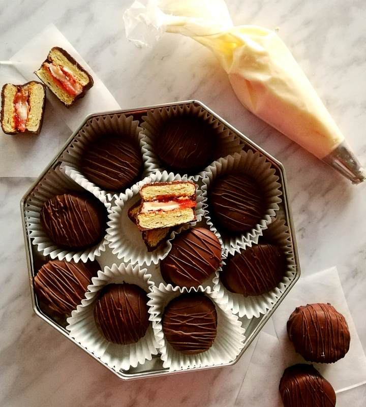 chocolate covered sandwich cookies in box overhead (1)