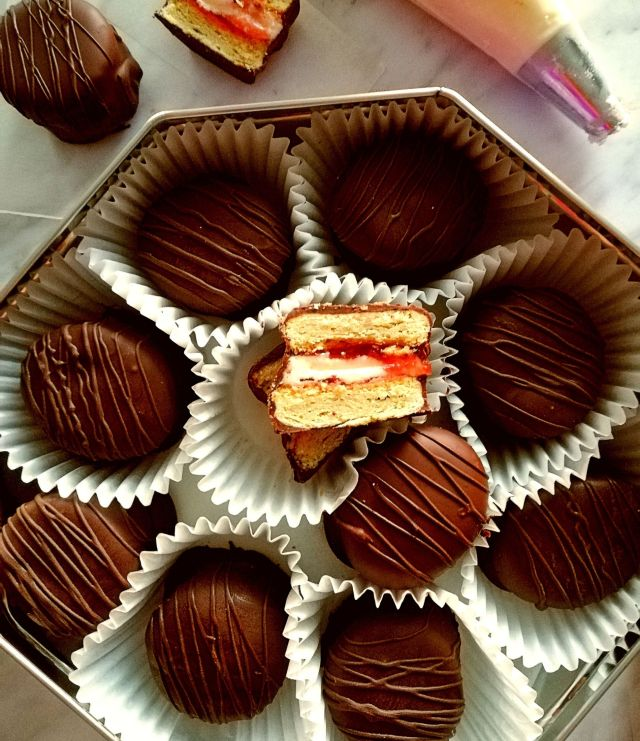 chocolate covered sandwich cookies in box