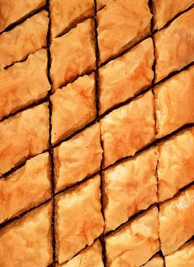 baklava in baking dish close up