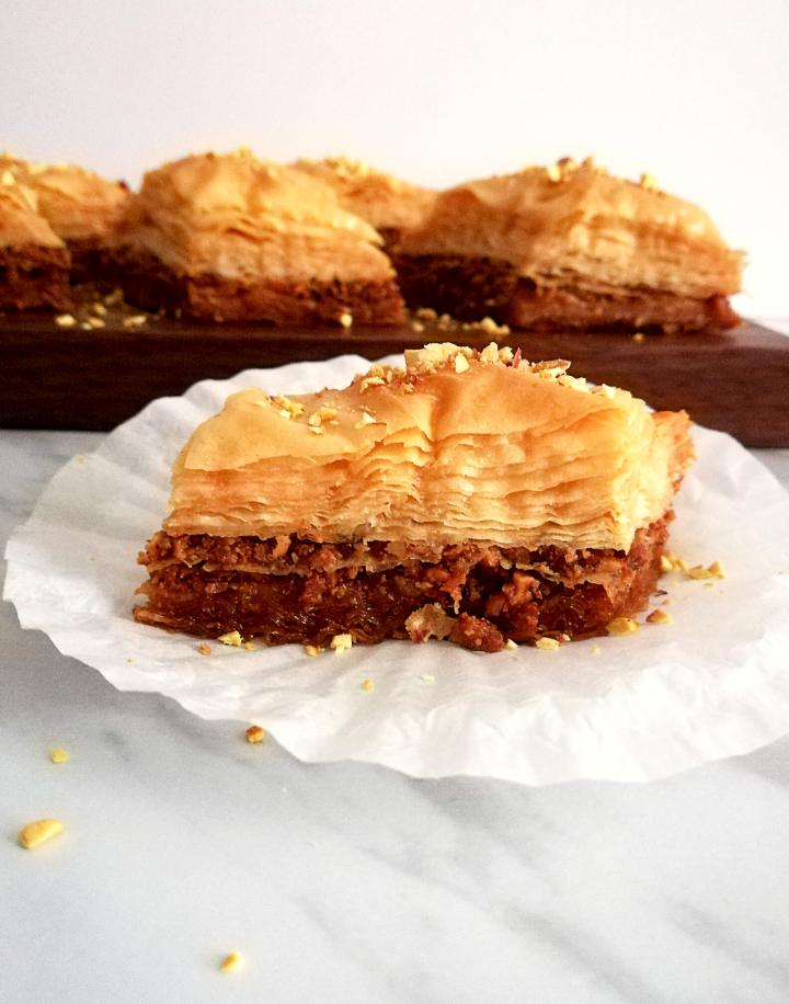 baklava on muffin liner close up
