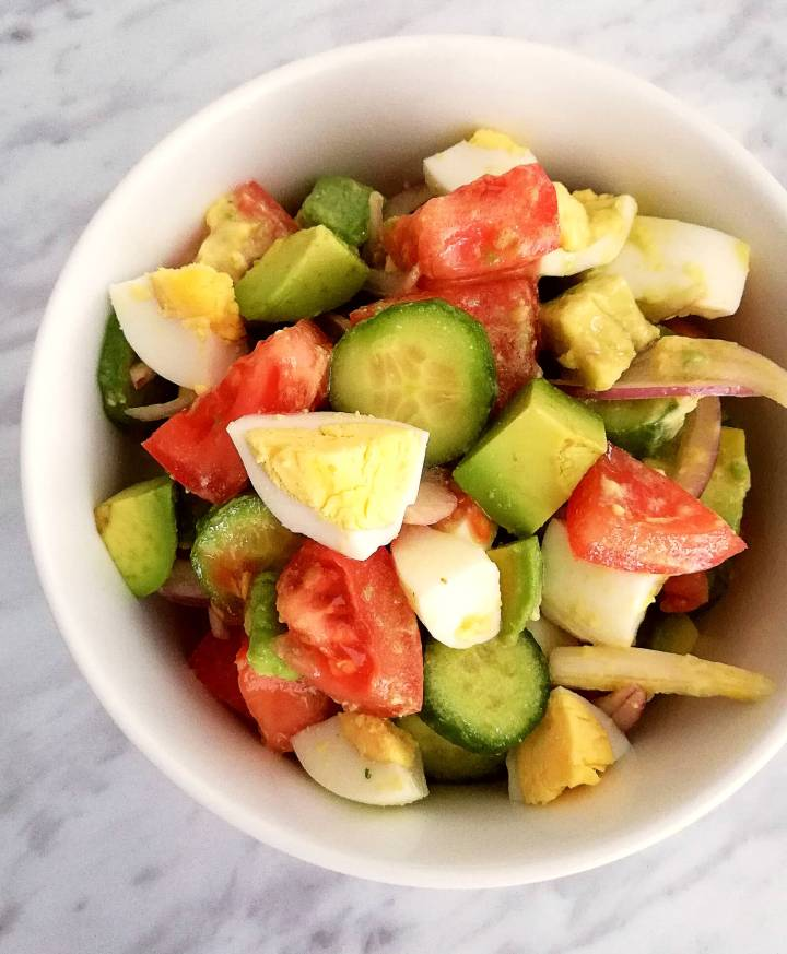 egg and avocado salad in bowl