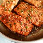 honey garlic salmon in skillet close up