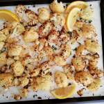 roasted cauliflower baked on baking sheet
