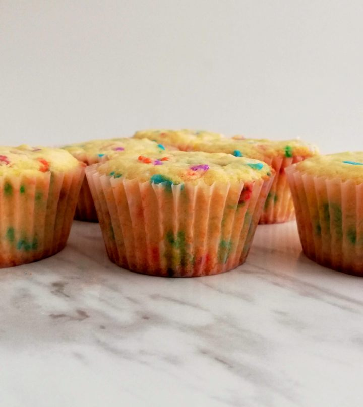 funfetti cupcakes baked close up