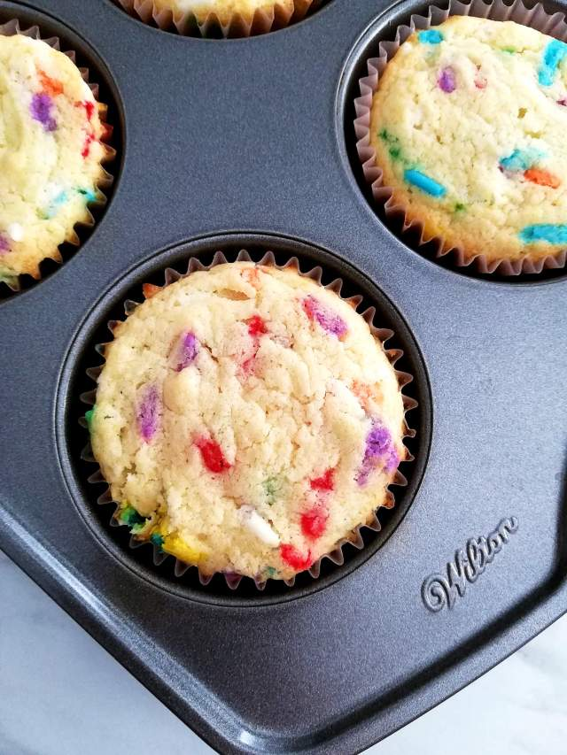 funfetti cupcakes baked in muffin tin close up
