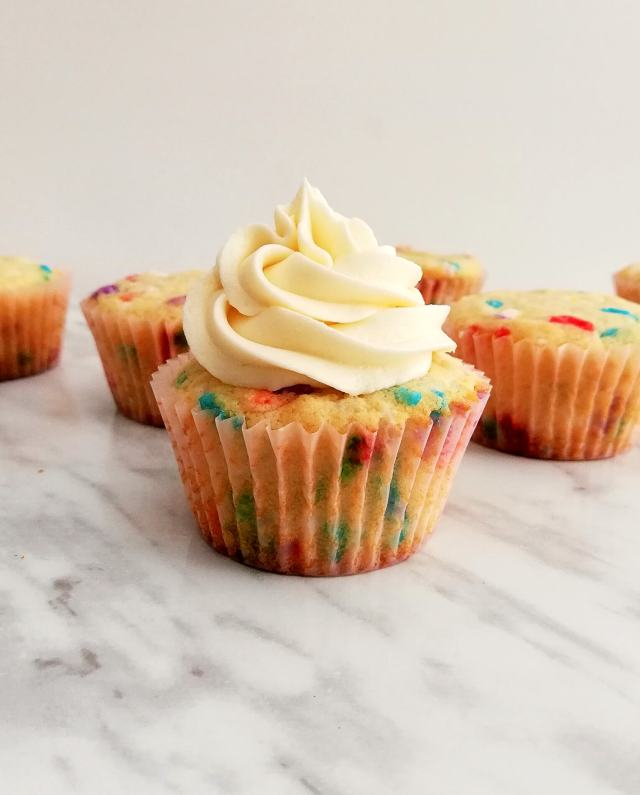 funfetti cupcakes frosted with buttercream