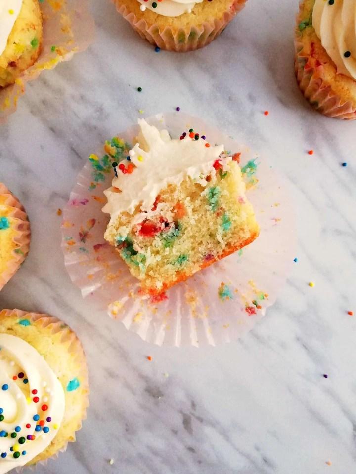 funfetti cupcakes sliced in half overhead